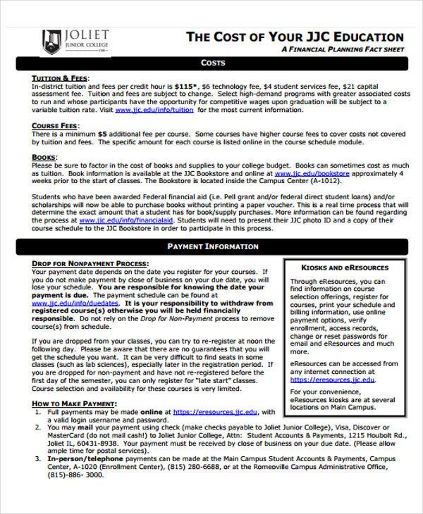 financial planning fact sheet