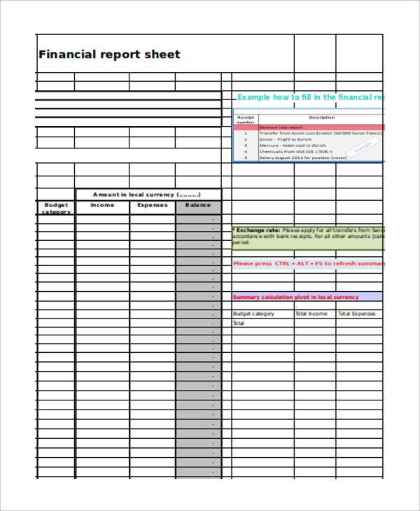 financial report sheet1