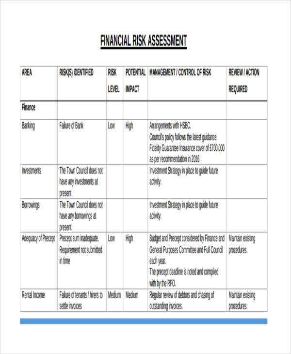 37 risk assessment templates free premium templates for Financial assessment template