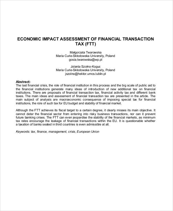 financial transaction tax impact assessment
