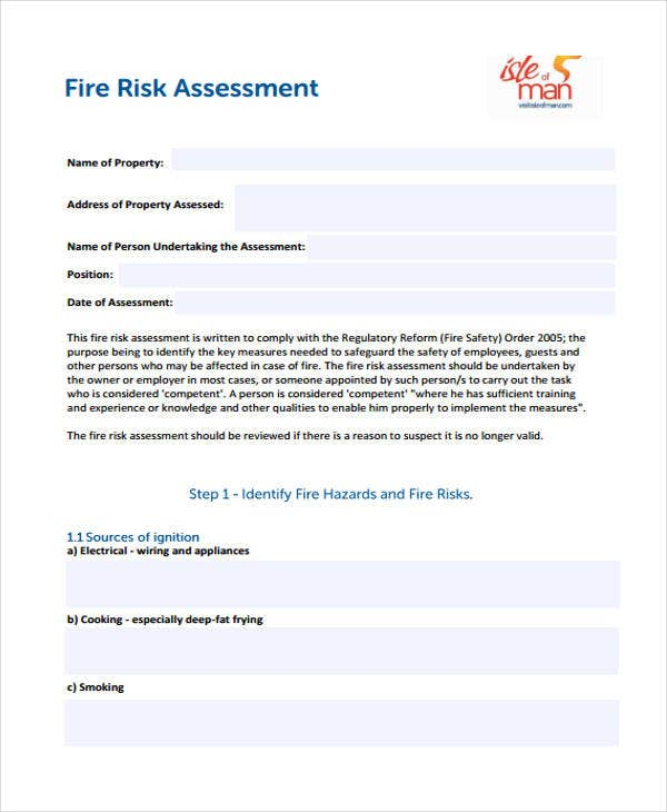 Fire Risk Assessment Sample