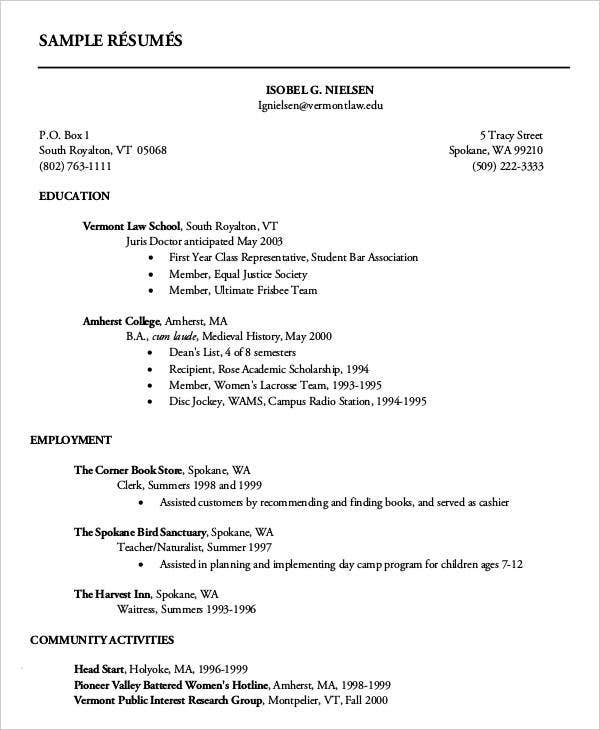 14 First Resume Templates Pdf Doc Free Amp Premium