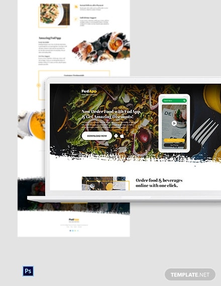 food app psd landing page template