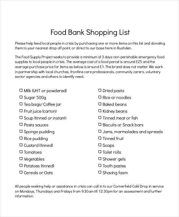 food bank shopping list