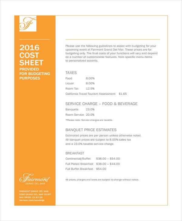 food cost sheet