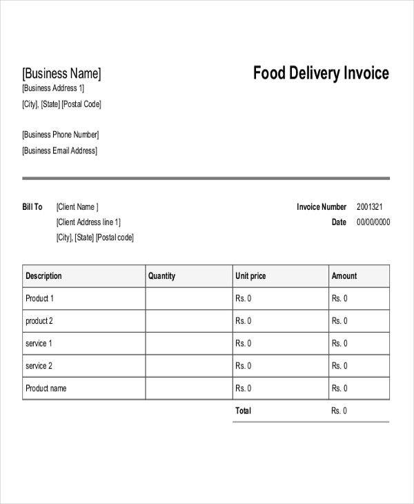 Delivery Invoice Templates   Free Word Pdf Format Download