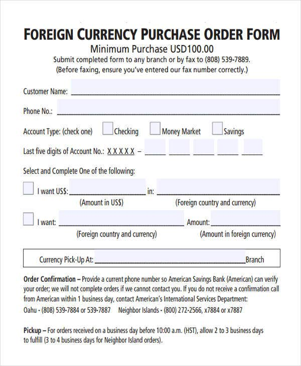 foreign currency purchase order