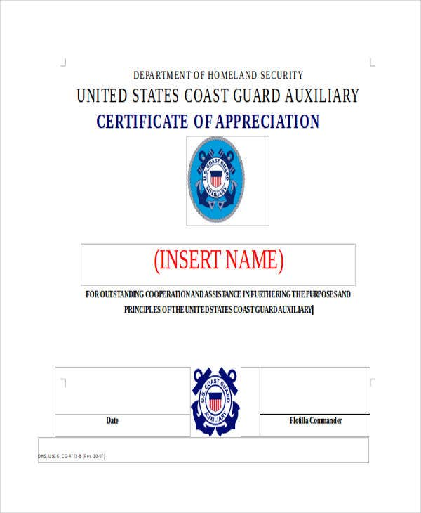 formal appreciation certificate