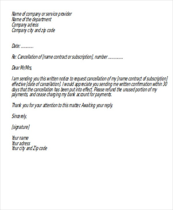 formal cancellation of service letter
