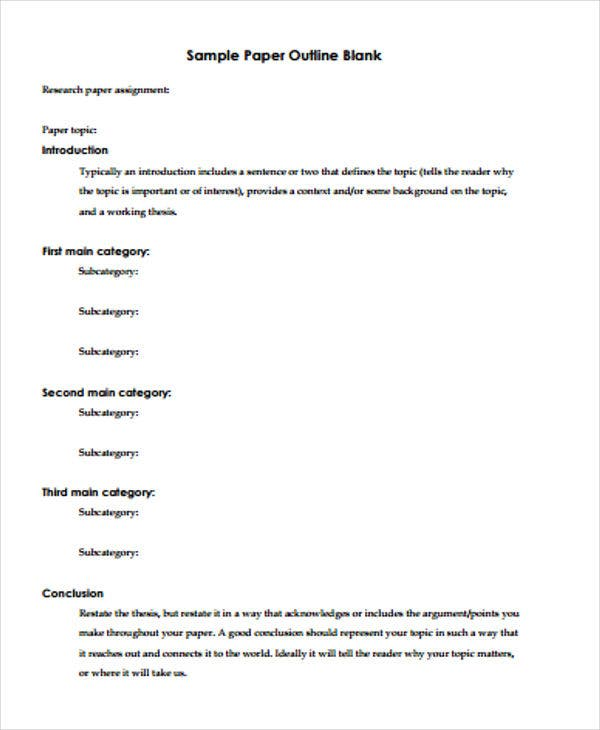 Paper Outline Templates   Free Pdf Format Download  Free