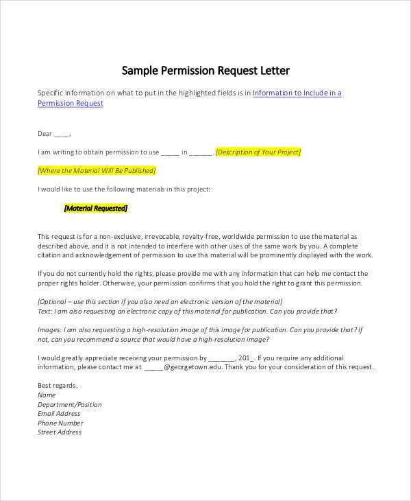 formal request for permission letter