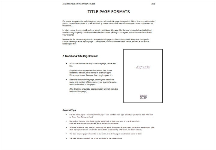 formal title page template