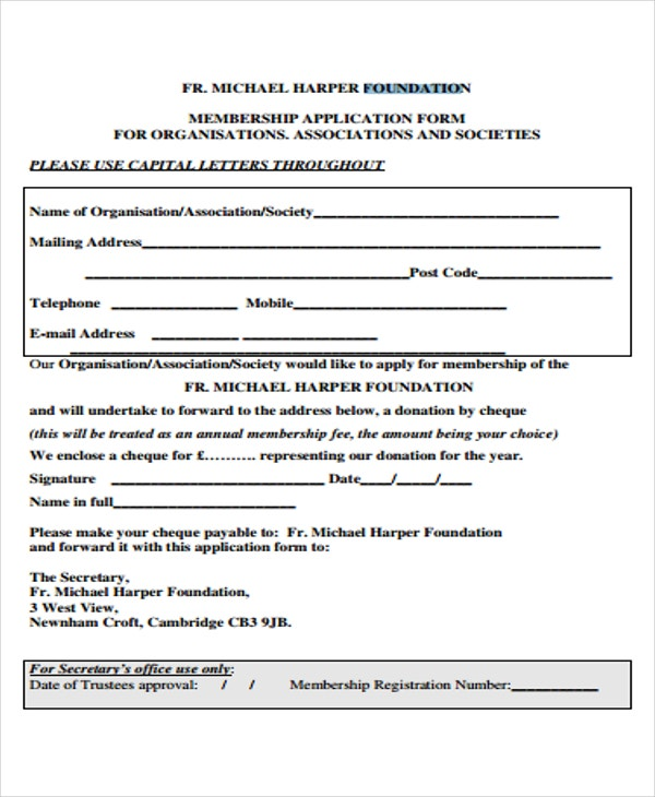 foundation membership application