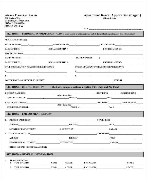 Printable rental application room rental agreement for Housing application template