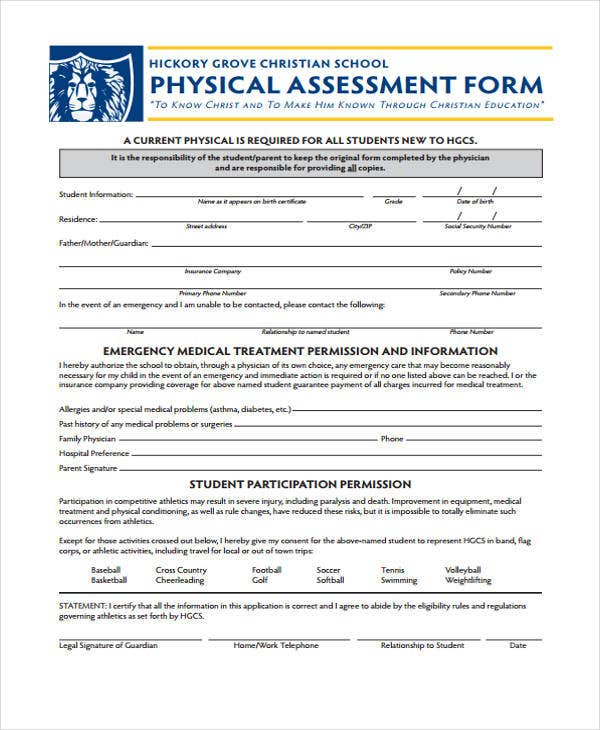 Physical Assessment Forms Free Assessment Form For Physical Sample