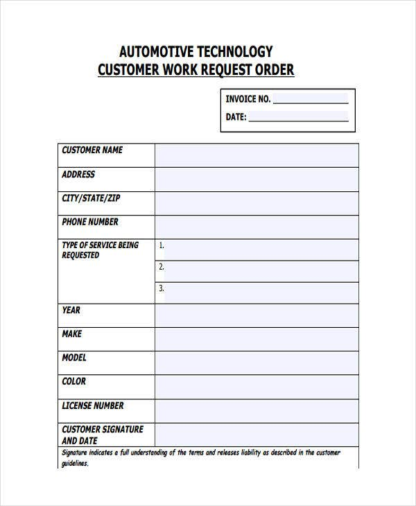 27 work order templates free premium templates customer work request order maxwellsz