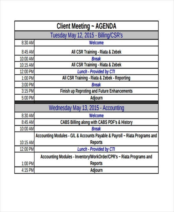 free client meeting agenda