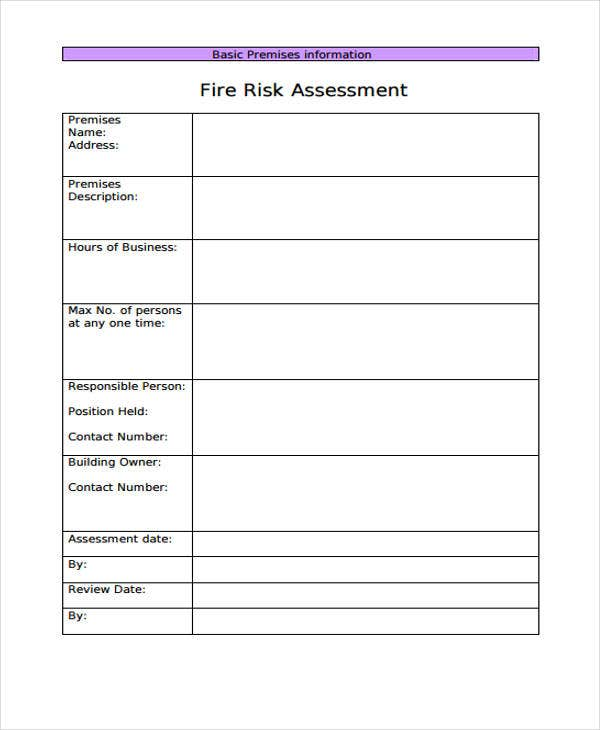 6 fire risk assessment templates free samples examples for Risk assessment security survey template