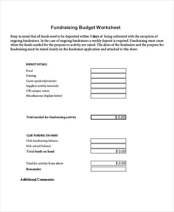free fundraising budget sheet
