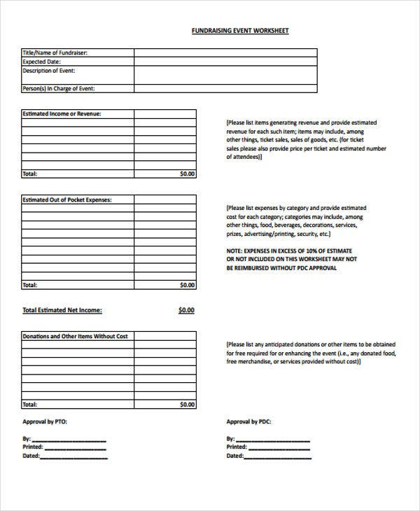 Fundraising Budget Templates 7 Free Sample Example Format