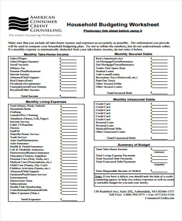 8 home budget templates free word pdf format download free