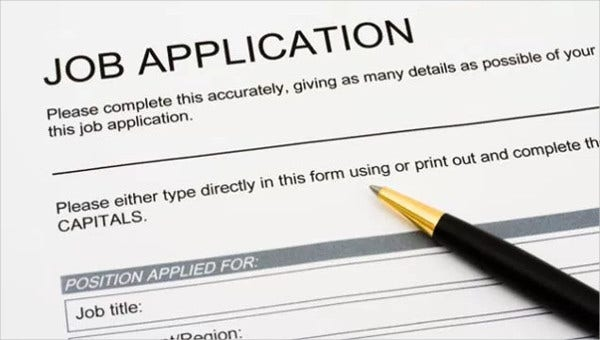 free job application templates