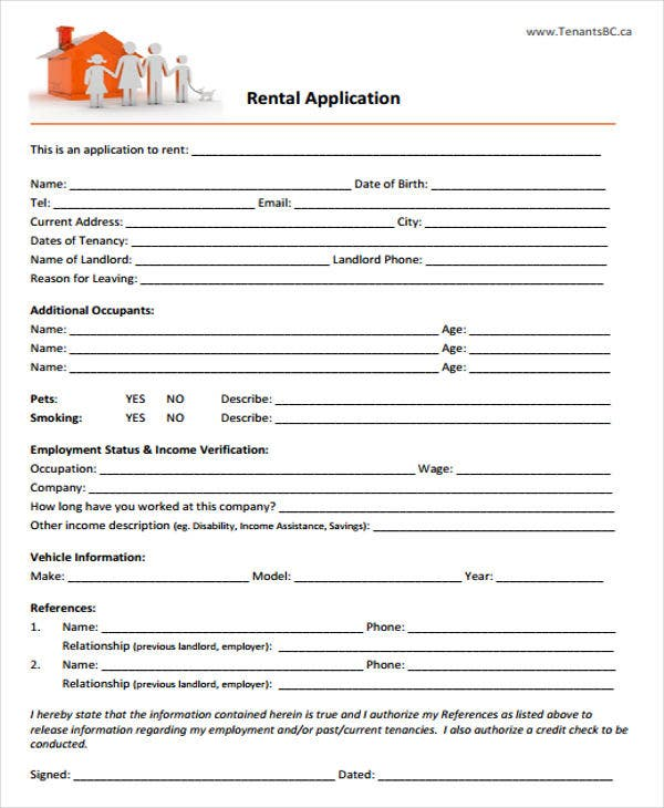 free landlord rental application