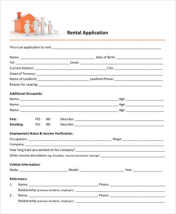 House Rental Apps: 21+ Printable Rental Application Templates