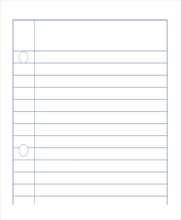 free lined notebook paper
