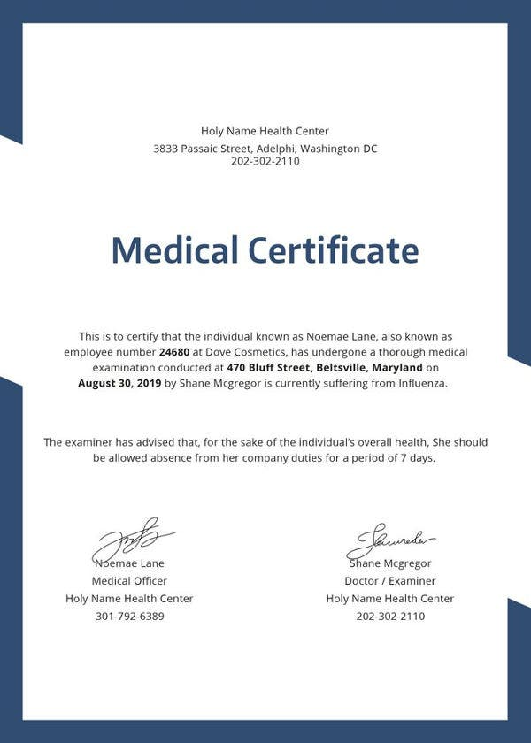 free medical certificate templates
