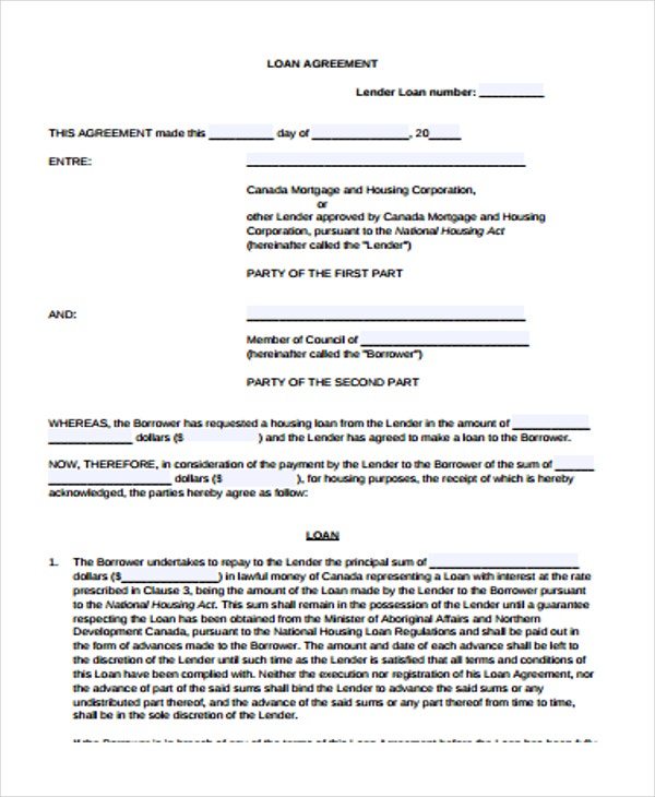 Loan Agreement Forms Free Premium Templates - Gc contract template