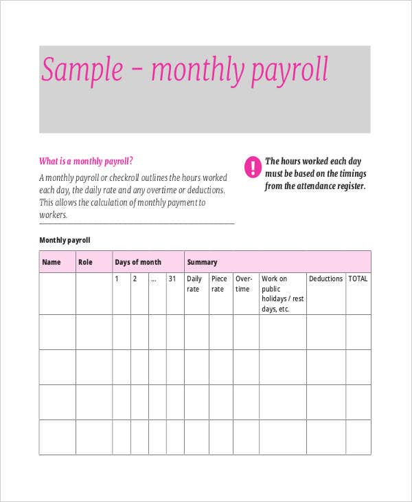 Payroll Sheet Templates   6 Free Samples, Examples Format Download