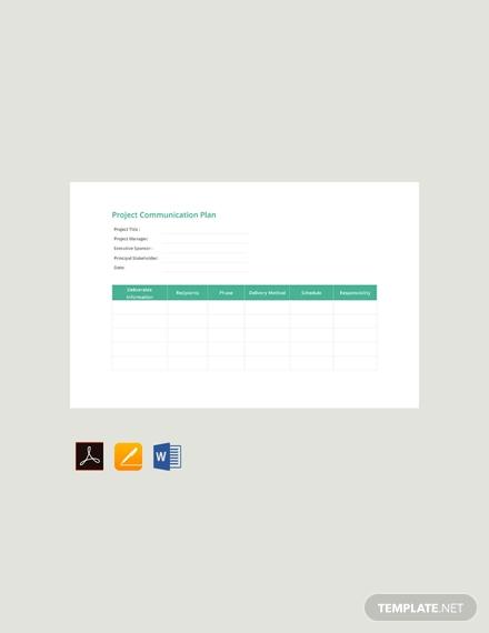 free project communication plan template