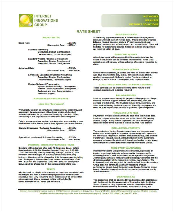 free rate sheet