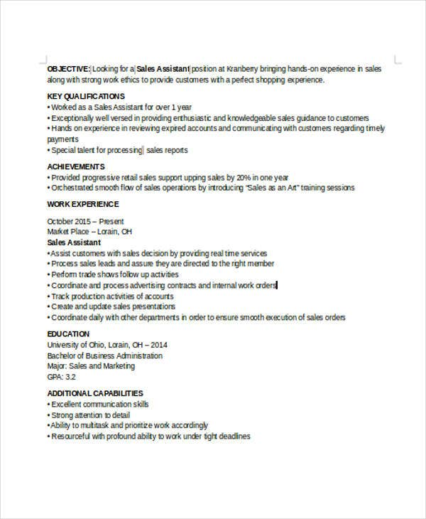 work experience resume sales associate