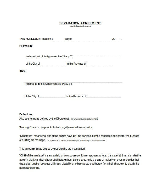 free separation agreement