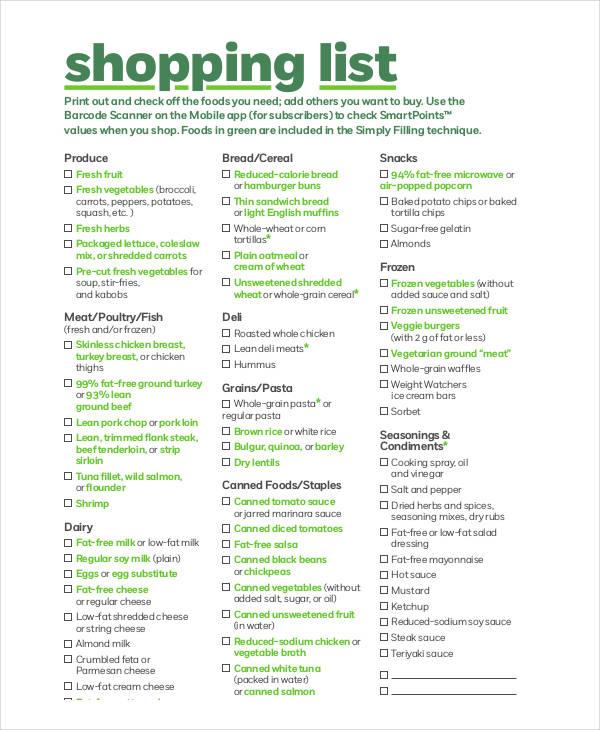 free shopping list