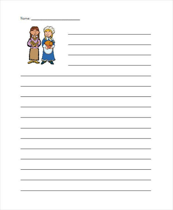 free thank giving lined paper