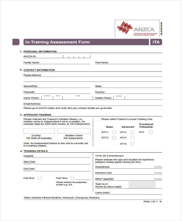Training Assessment Form Training Evaluation Evaluation Forms For