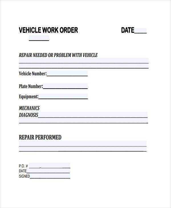 free vehicle work order