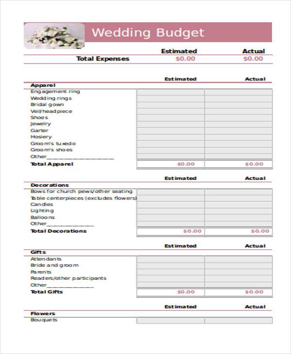 free wedding budget