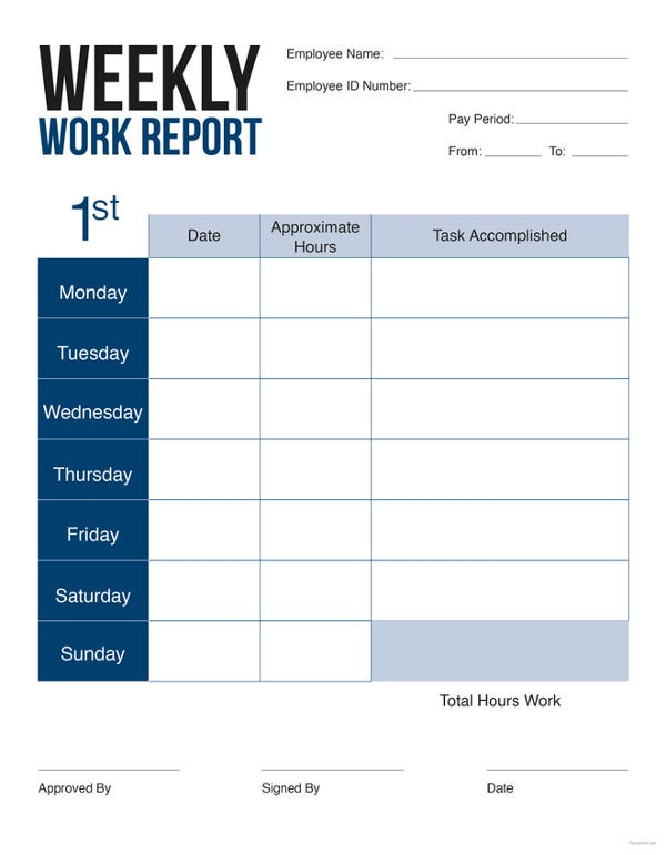 41 sample weekly report templates free premium templates for Free report card template