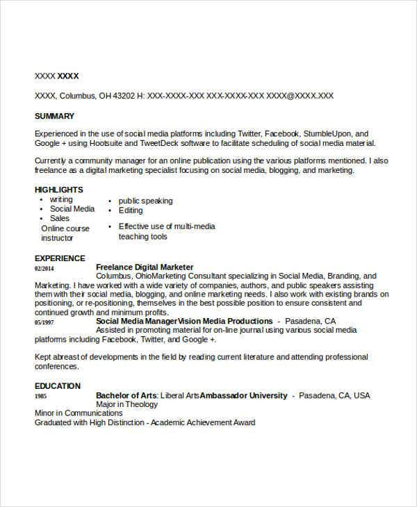 freelance digital marketing resume