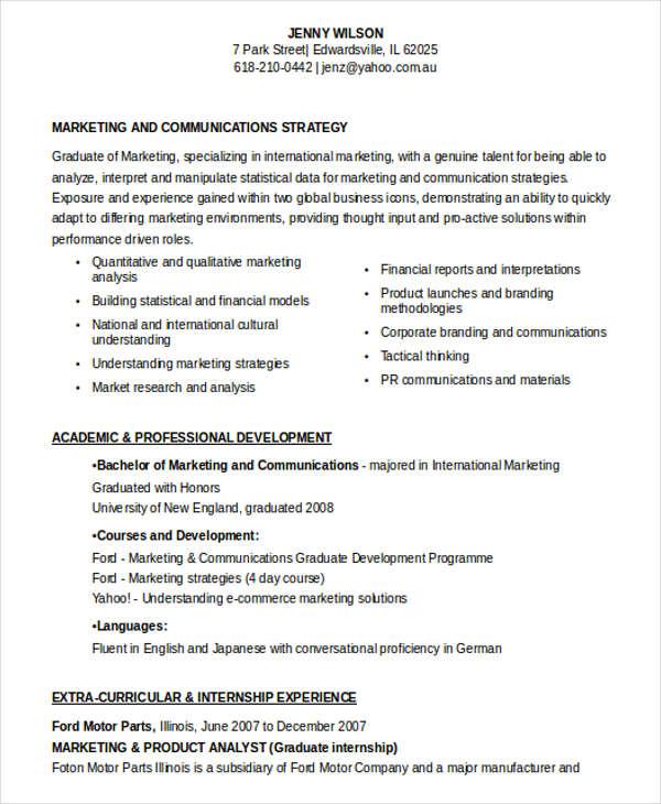 freelance marketing communications resume