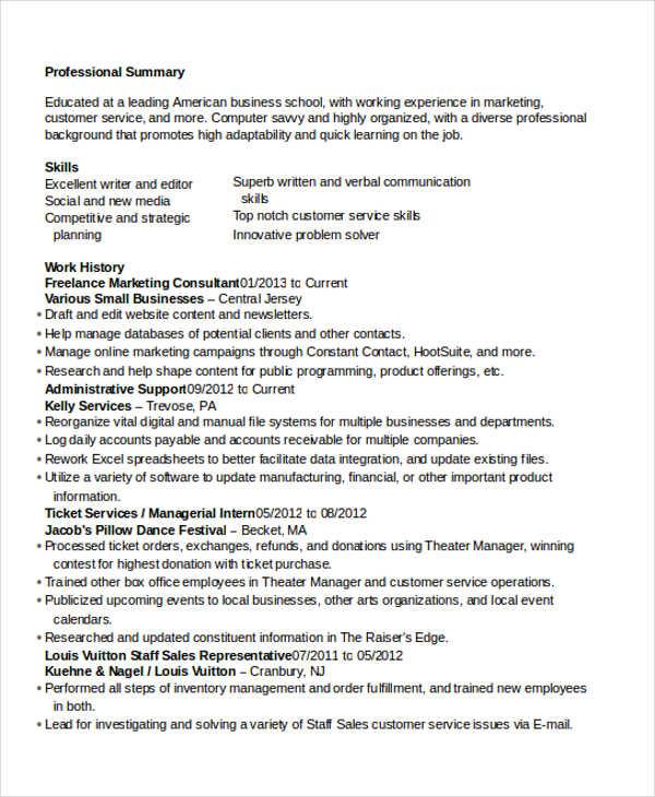 freelance marketing consultant resume