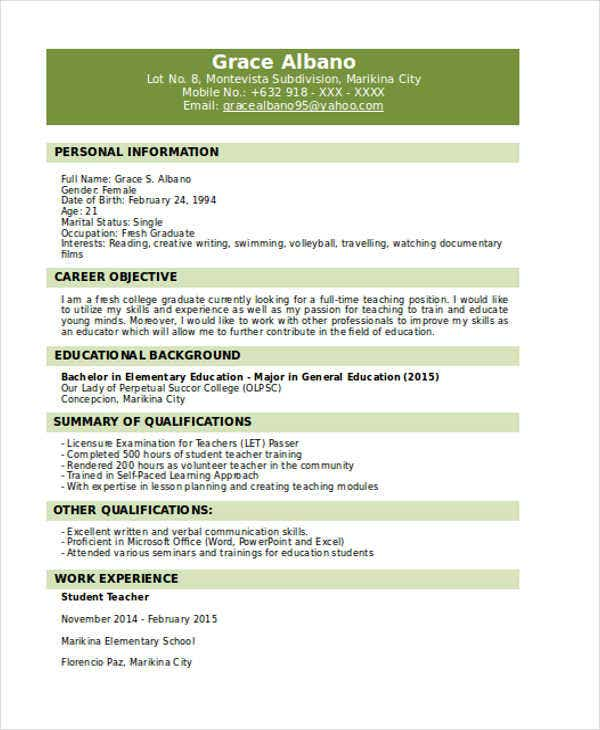 Fresh Graduate Resume Format Sample
