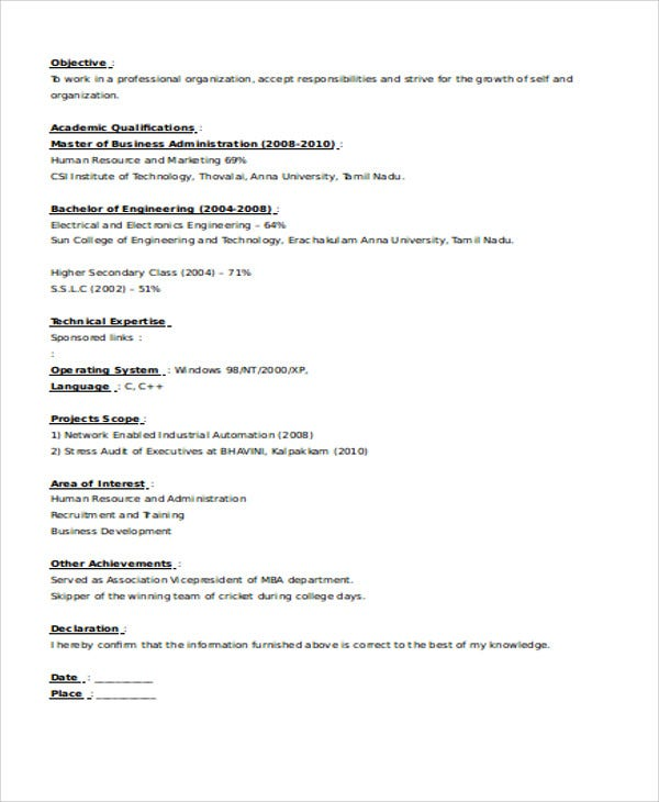 fresher business development executive resume