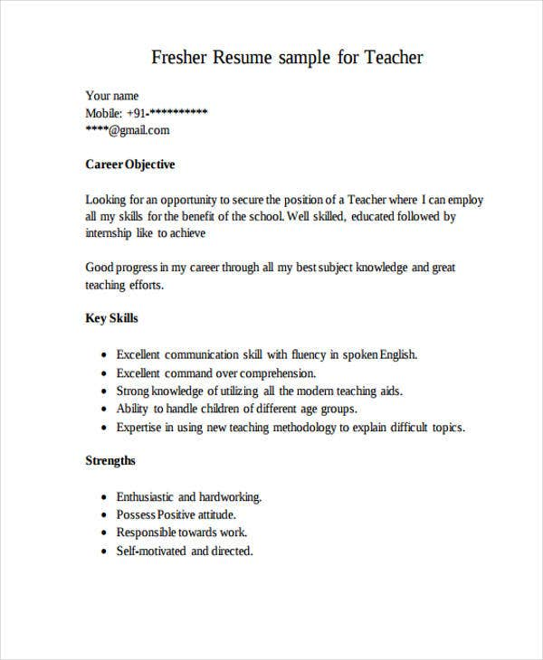 fresher teacher resume details file format