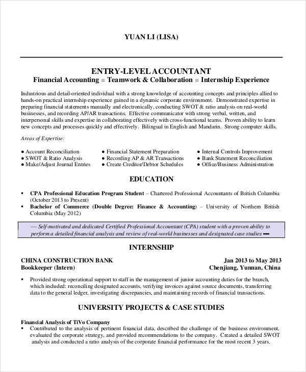 functional resume for entry level accountant