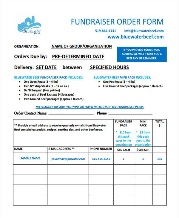 fundraiser order sample